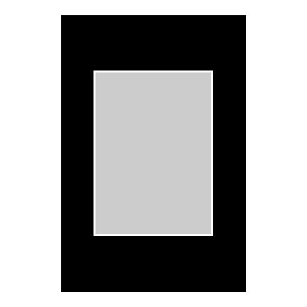 Passe-partout zwart - buitenmaat 20x30cm - fotomaat 10x15cm