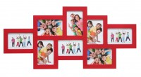 Multi fotokader - acht 10x15cm foto's - rood
