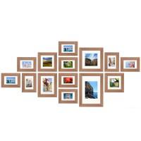 Fotomuur - 14 fotokaders - SecaDesign Forest Gallery 1 - Lichtbruin