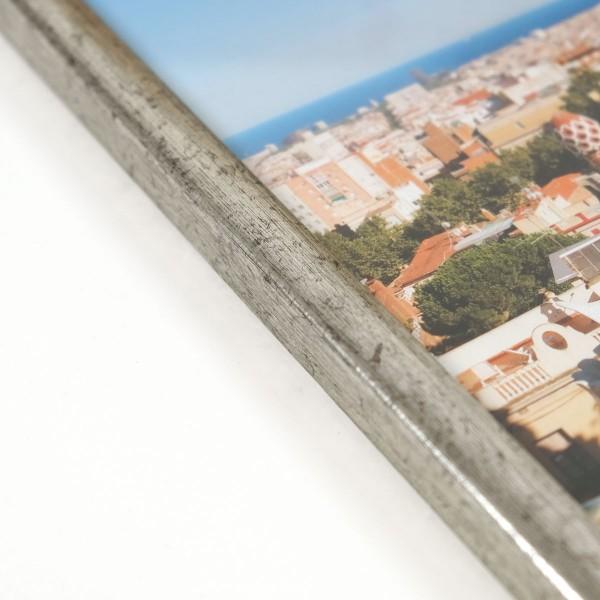 detailfoto zilveren fotolijst