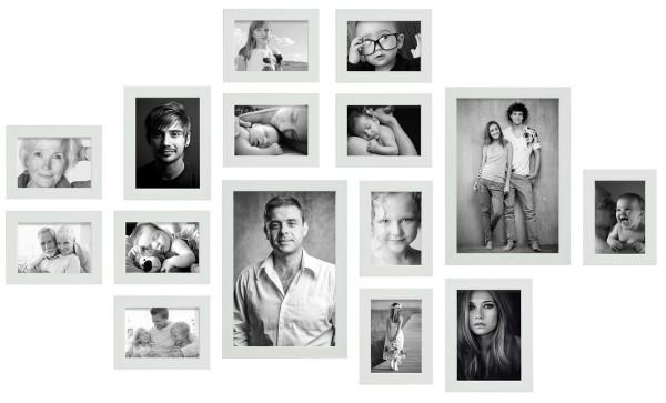 fotomuur 15 fotolijsten wit