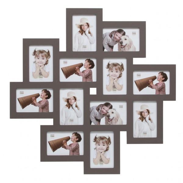 Multi fotolijst - twaalf 10x15cm foto's taupe