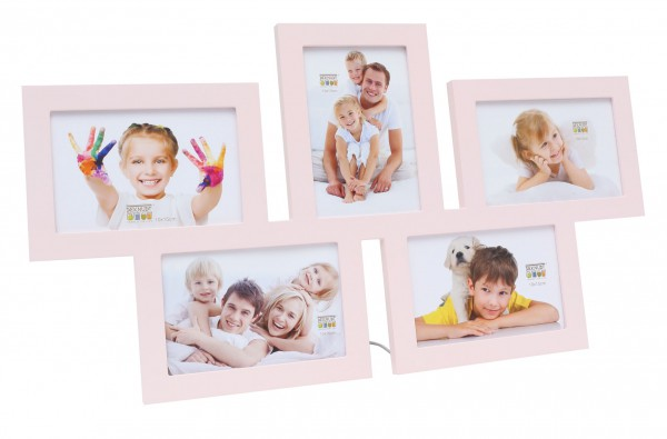 multi fotolijst vijf foto roze