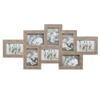 Landelijke multi fotokader - 8 foto's 10x15 cm - bruin