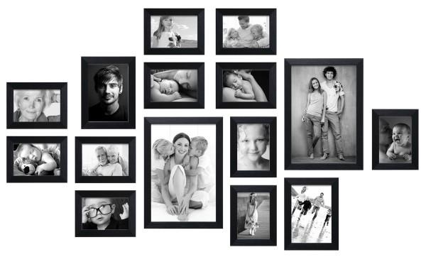 Fotomuur Deknudt - 15 fotolijsten - Zwart - S41VH2 WALL1