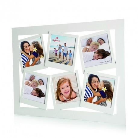 Collage fotolijst zes 10x10 cm foto's - wit - model 4100
