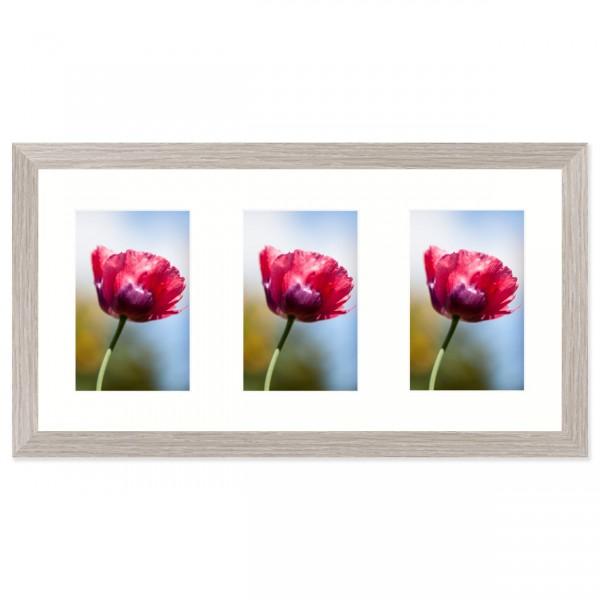 Fotolijst Anima - drieluik 10x15 cm - lichtgrijs