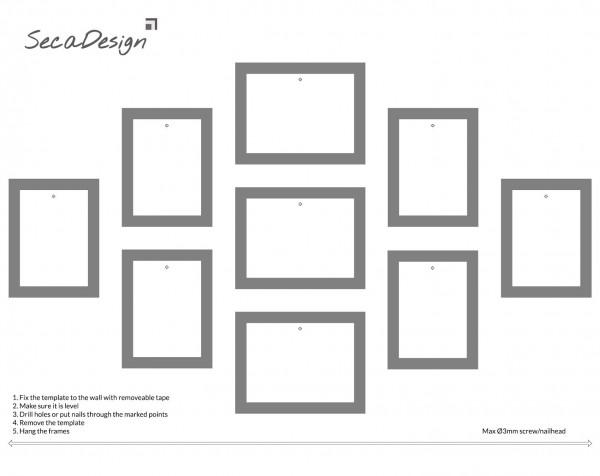 Fotomuur - 9 fotokaders - SecaDesign Piazza Gallery - zwart