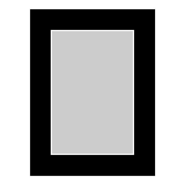 Passe-partout zwart - buitenmaat 15x20cm - fotomaat 10x15cm