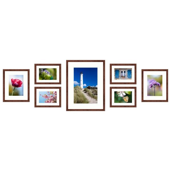 Fotomuur zeven fotolijsten set bruin