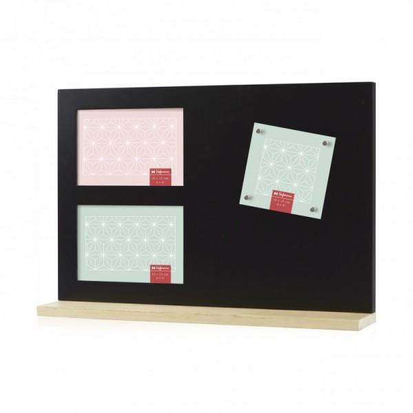 Multi fotolijst met magneten - zwart - met staander