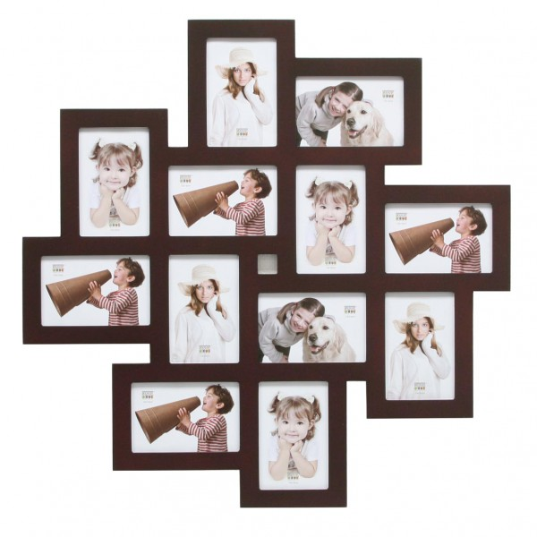 Multi fotolijst - twaalf 10x15cm foto's bruin