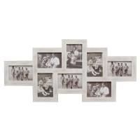 Landelijke multi fotokader - 8 foto's 10x15 cm - wit