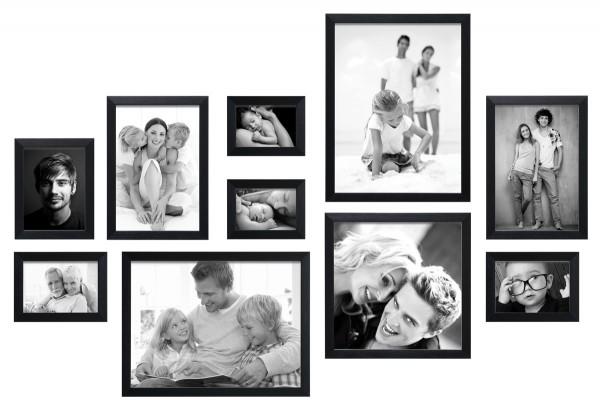 fotomuur 10 fotolijsten zwart