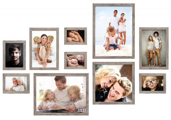 Fotomuur 10 fotolijsten grijs