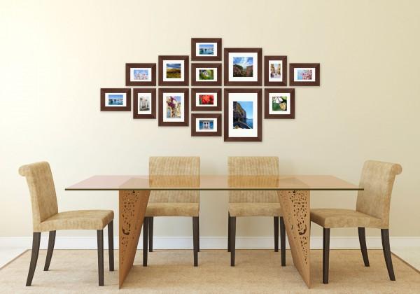 Fotomuur - 14 fotokaders - SecaDesign Forest Gallery 1 - Bruin