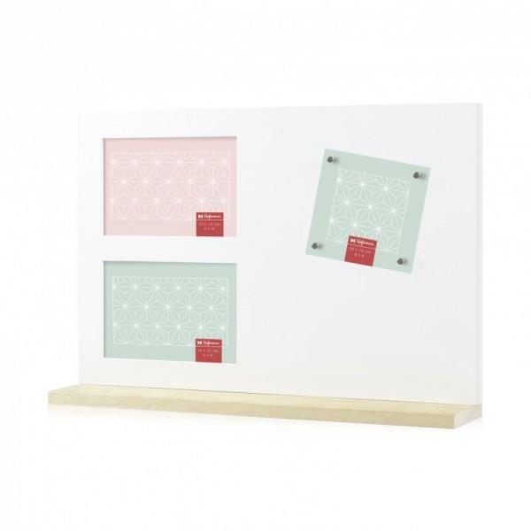 Multi fotolijst met magneten - wit - met staander