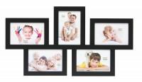 Multi fotokader - vijf 10x15cm foto's - zwart