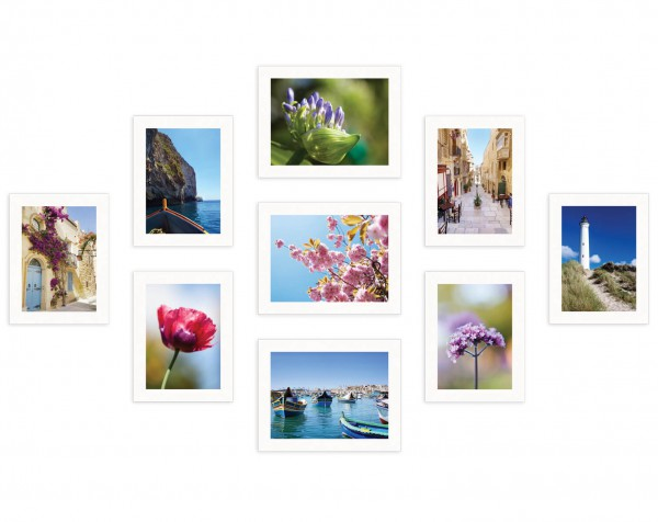 Fotowand Piazza wit 9 fotolijsten
