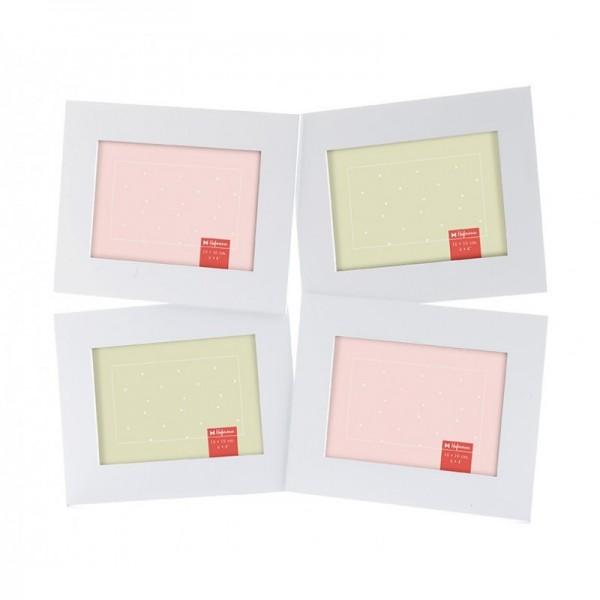 Vierluik fotolijst 10x15 cm wit - model 576