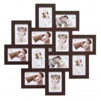 Multi fotolijst - twaalf 10x15cm foto's - Bruin