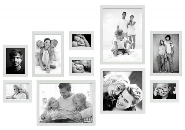 fotomuur 10 fotolijsten wit