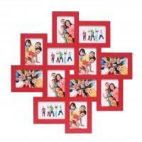 Multi fotolijst - twaalf 10x15cm foto's - rood
