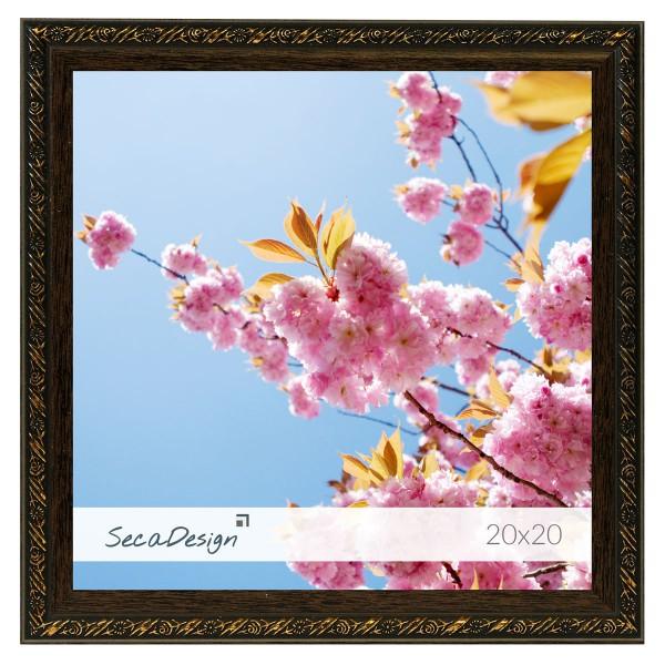 fotolijst bruin / goud met bloemenpatroon vierkant