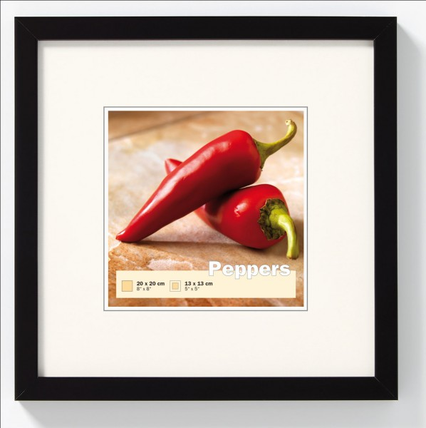 Houten fotokader - Peppers - zwart