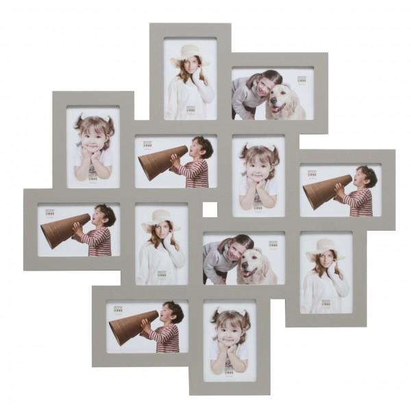 Multi fotolijst twaalf 10x15cm foto grijs